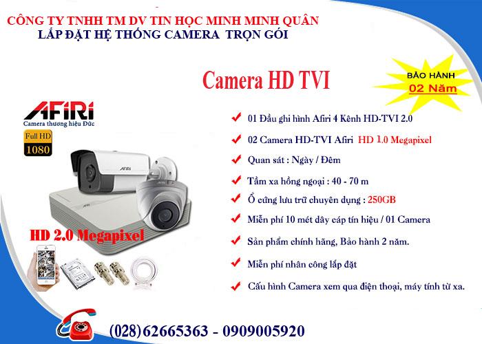 Bảng giá lắp đặt trọn bộ 2 camera HD